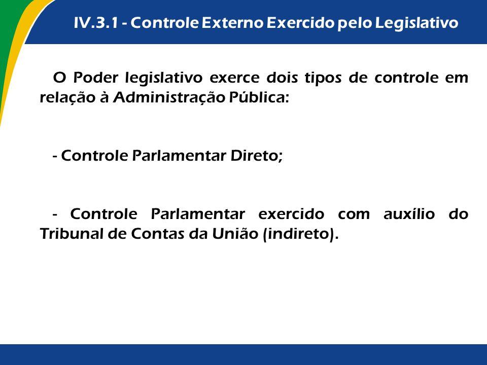 IV.3.1 - Controle Externo Exercido pelo Legislativo