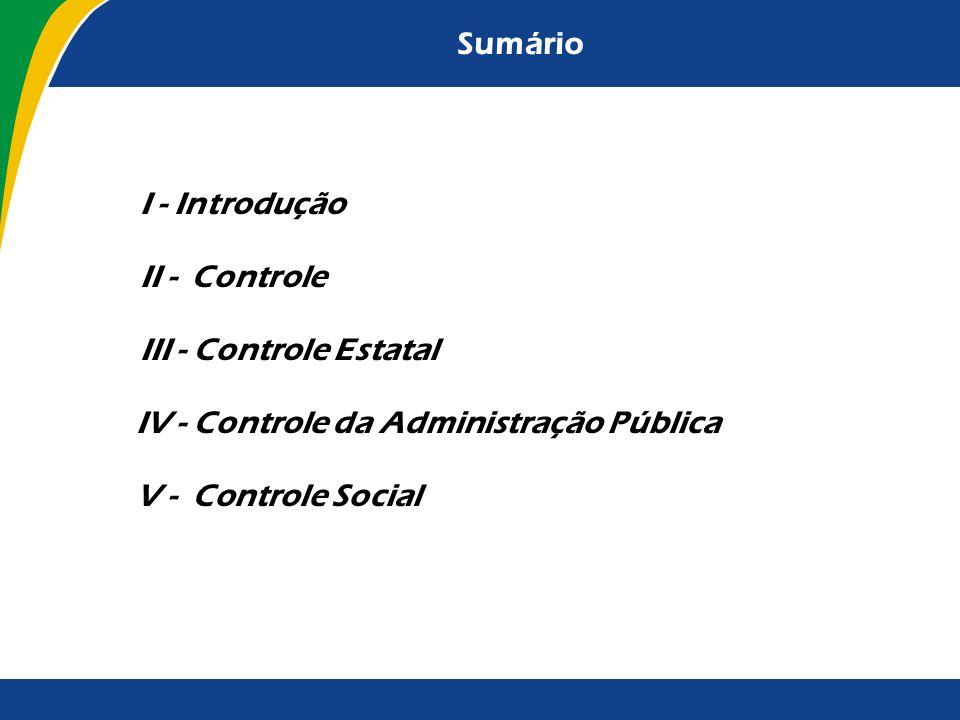 Sumário I - Introdução. II - Controle. III - Controle Estatal. IV - Controle da Administração Pública.