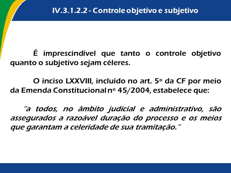 IV.3.1.2.2 - Controle objetivo e subjetivo