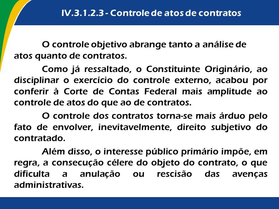 IV.3.1.2.3 - Controle de atos de contratos