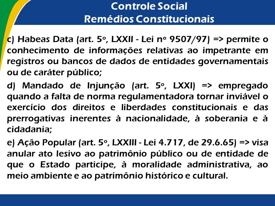 Controle Social Remédios Constitucionais