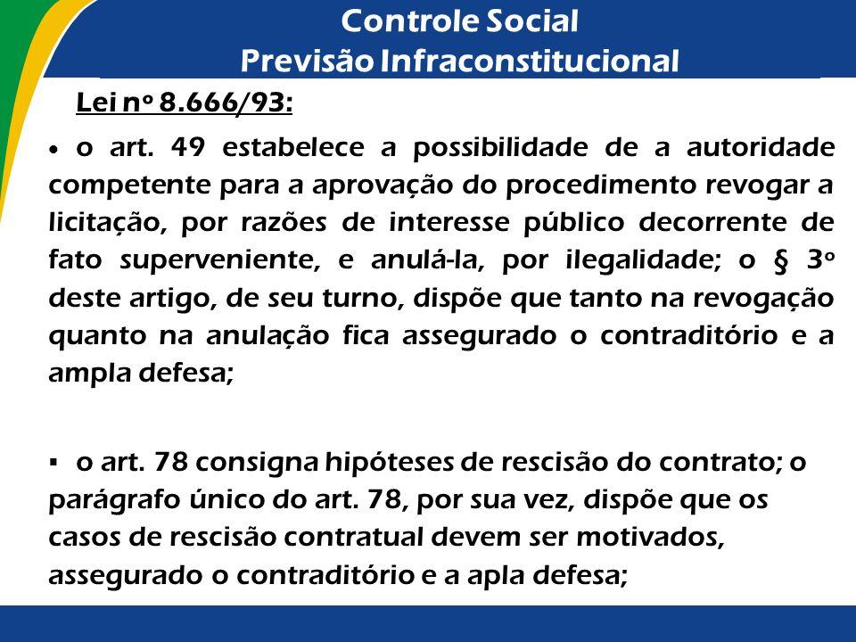Controle Social Previsão Infraconstitucional