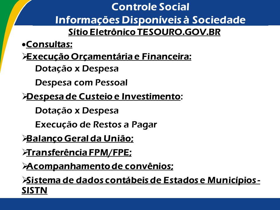Controle Social Informações Disponíveis à Sociedade
