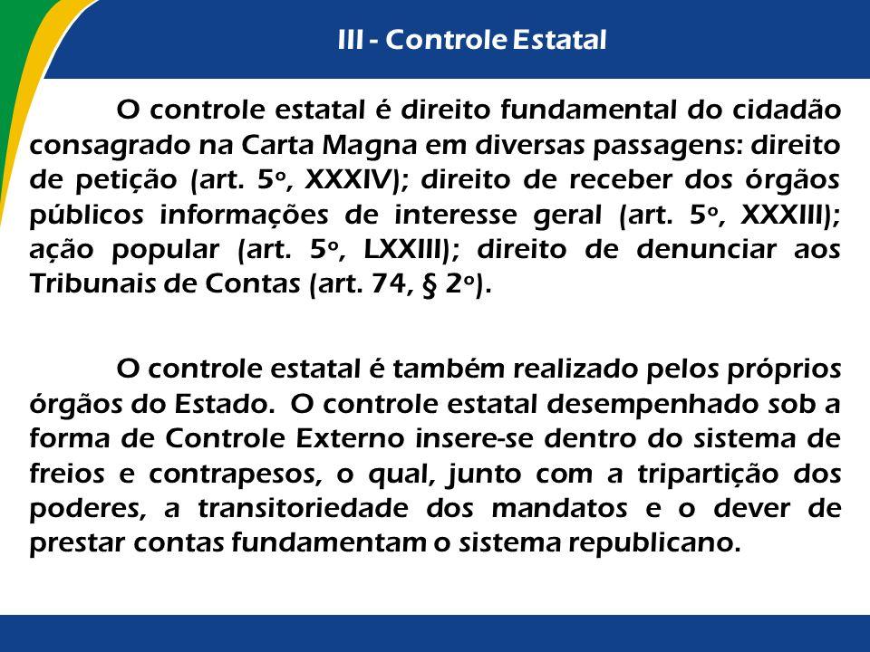 III - Controle Estatal
