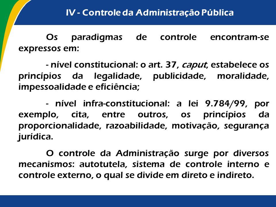 IV - Controle da Administração Pública