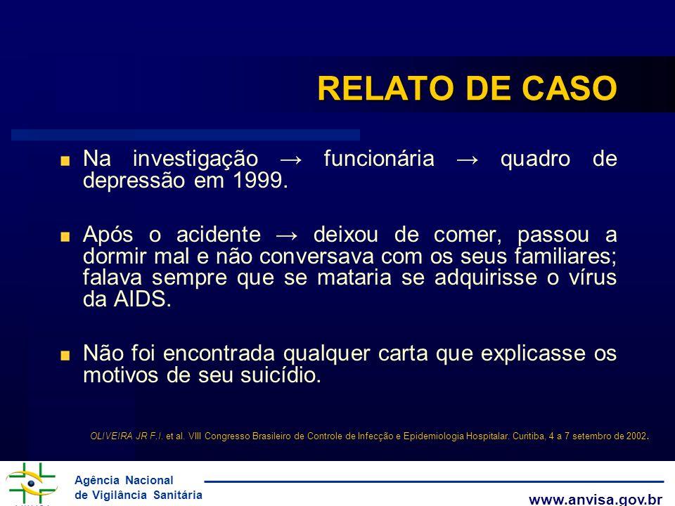 RELATO DE CASO Na investigação → funcionária → quadro de depressão em 1999.