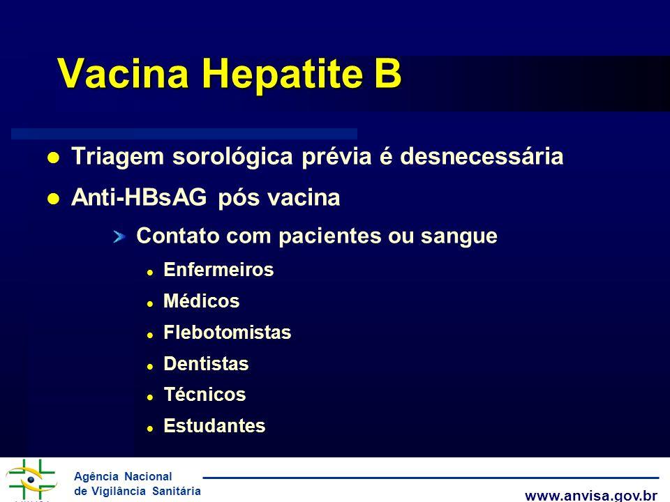 Vacina Hepatite B Triagem sorológica prévia é desnecessária