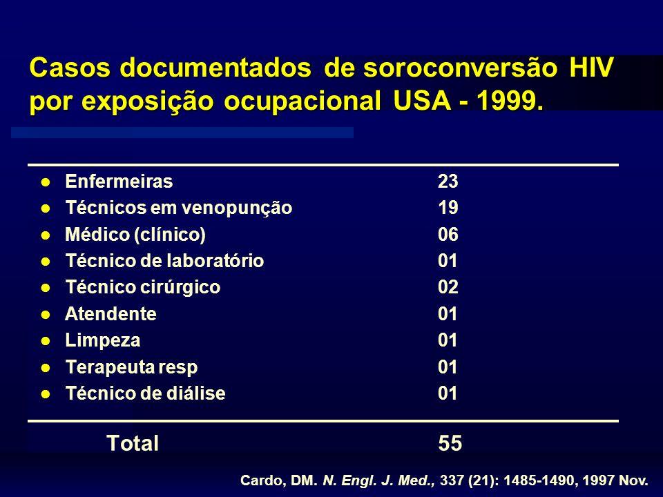 Casos documentados de soroconversão HIV por exposição ocupacional USA - 1999.