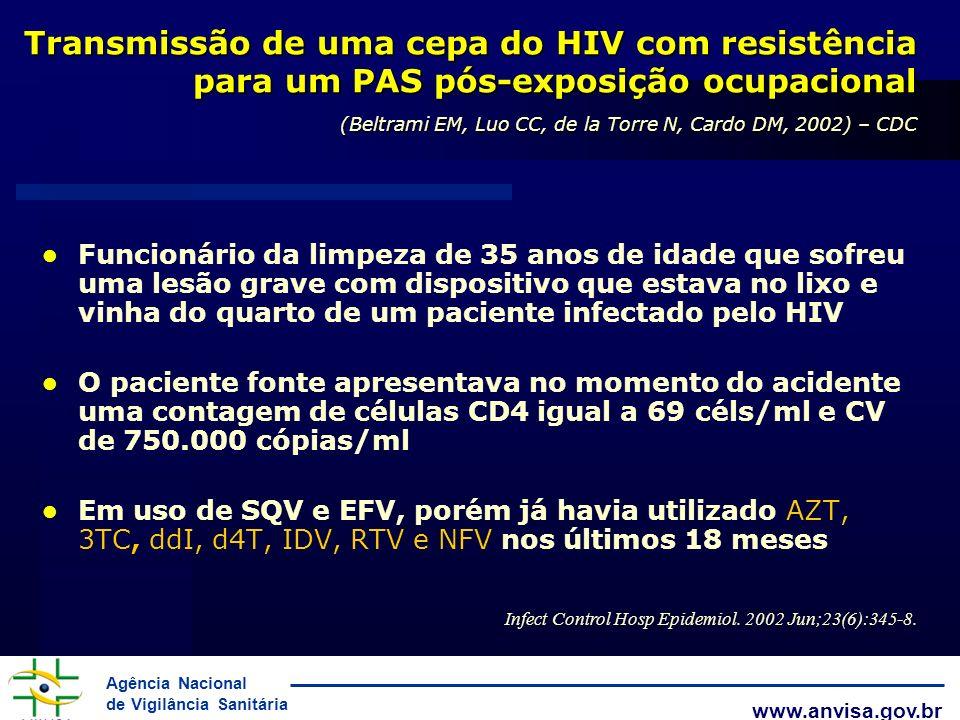 Transmissão de uma cepa do HIV com resistência para um PAS pós-exposição ocupacional (Beltrami EM, Luo CC, de la Torre N, Cardo DM, 2002) – CDC