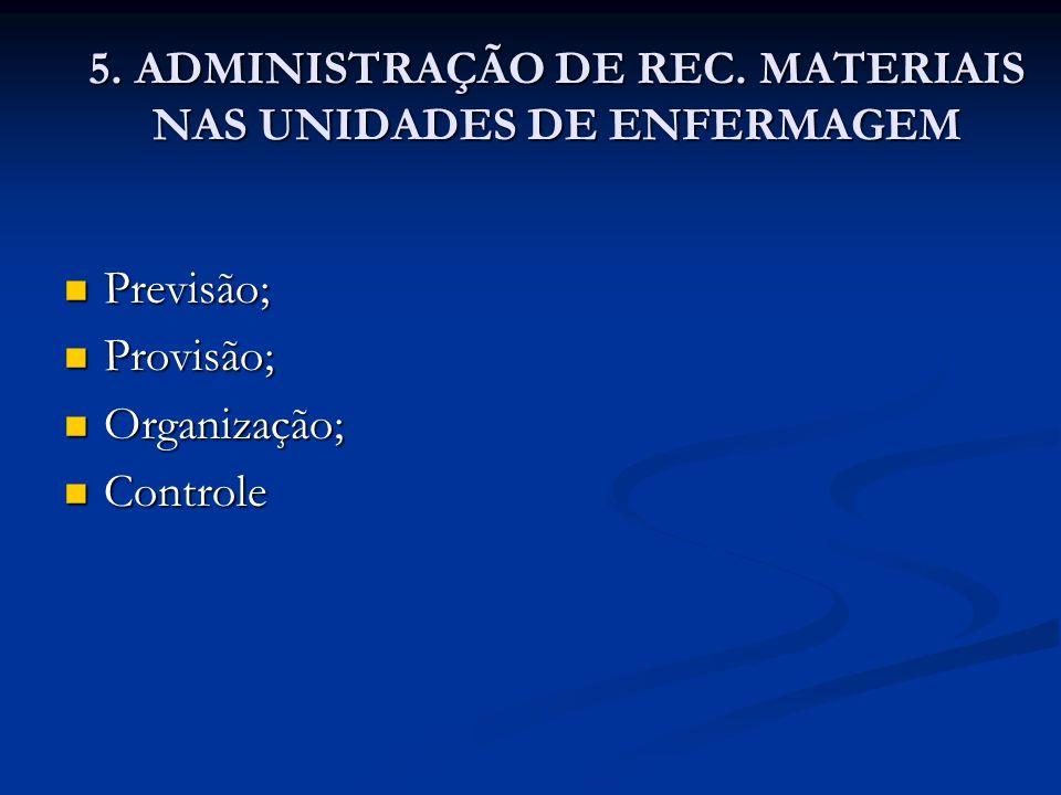 5. ADMINISTRAÇÃO DE REC. MATERIAIS NAS UNIDADES DE ENFERMAGEM