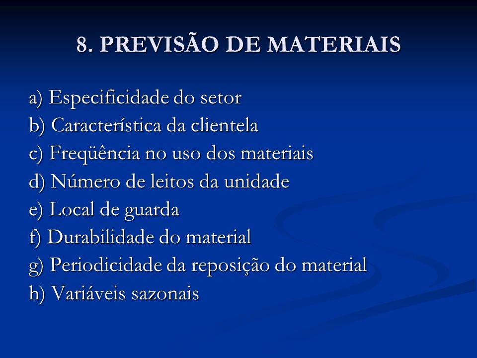 8. PREVISÃO DE MATERIAIS a) Especificidade do setor
