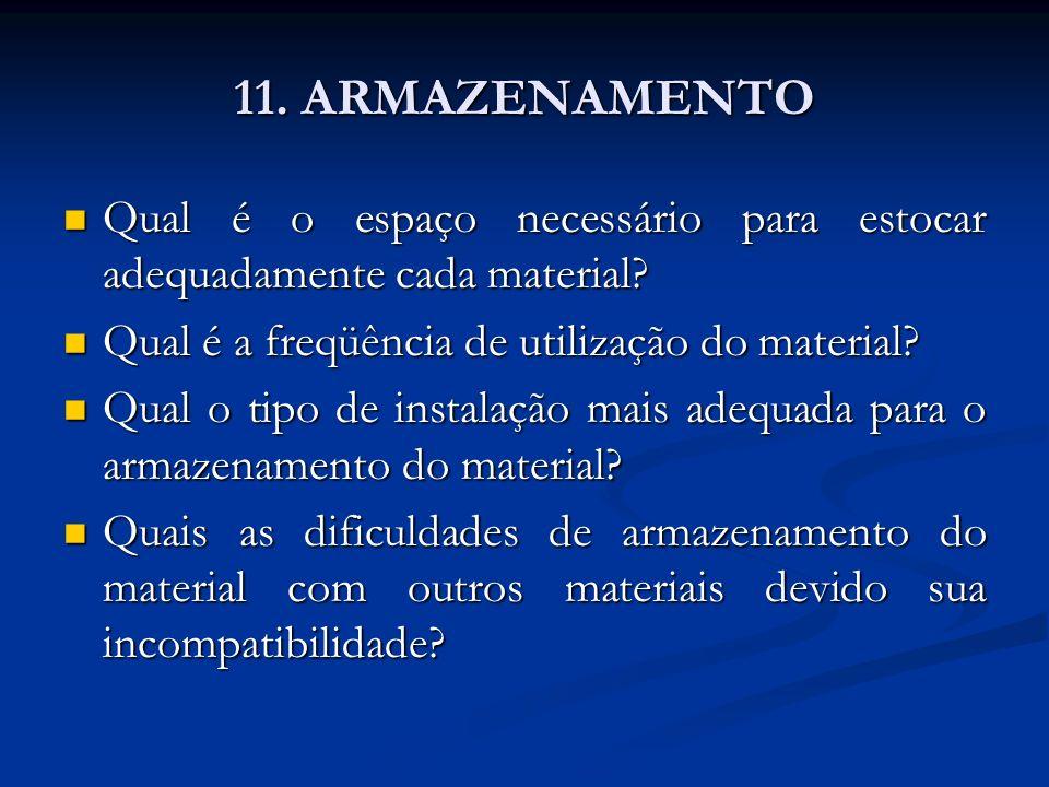 11. ARMAZENAMENTO Qual é o espaço necessário para estocar adequadamente cada material Qual é a freqüência de utilização do material