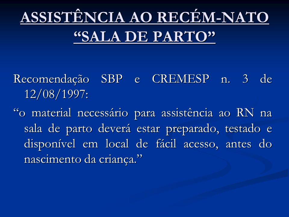 ASSISTÊNCIA AO RECÉM-NATO SALA DE PARTO
