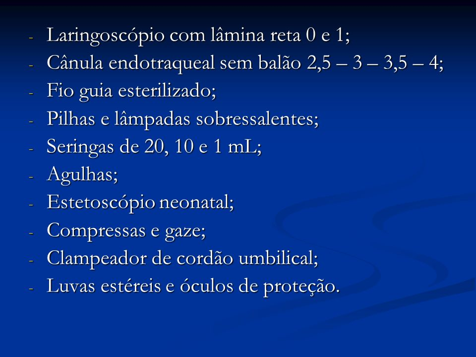 Laringoscópio com lâmina reta 0 e 1;