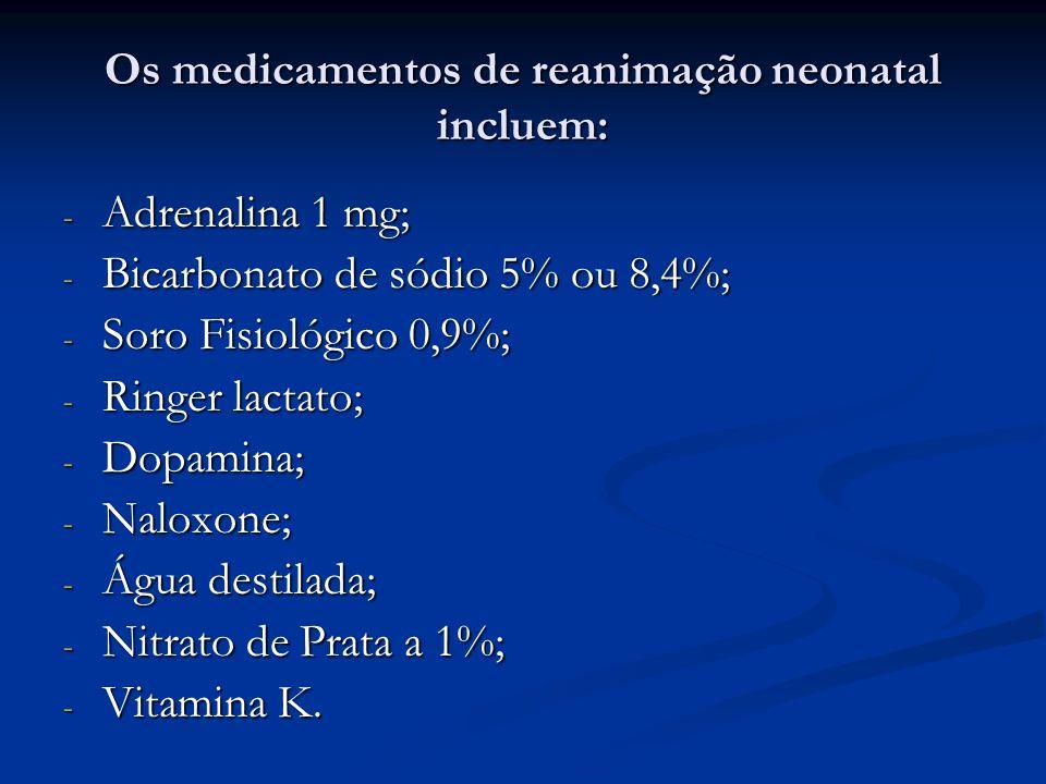 Os medicamentos de reanimação neonatal incluem: