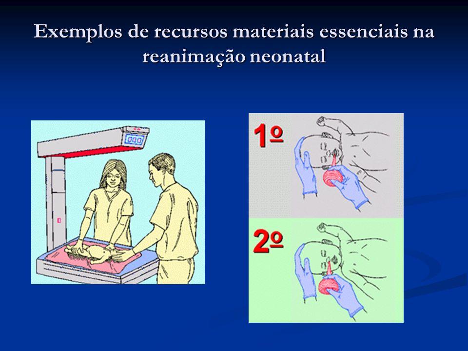 Exemplos de recursos materiais essenciais na reanimação neonatal
