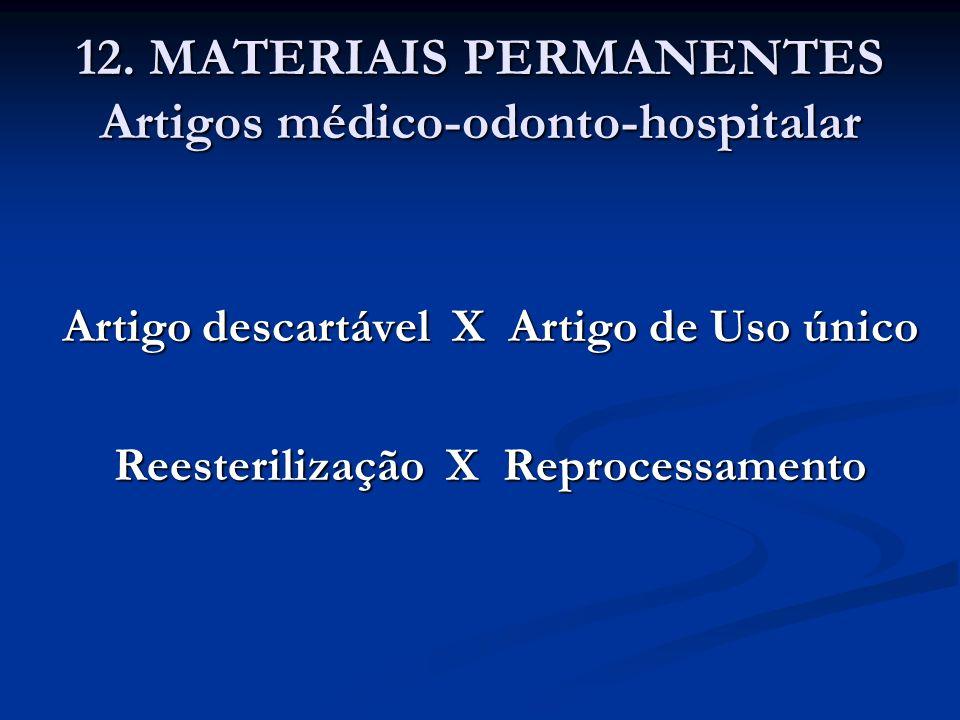 12. MATERIAIS PERMANENTES Artigos médico-odonto-hospitalar