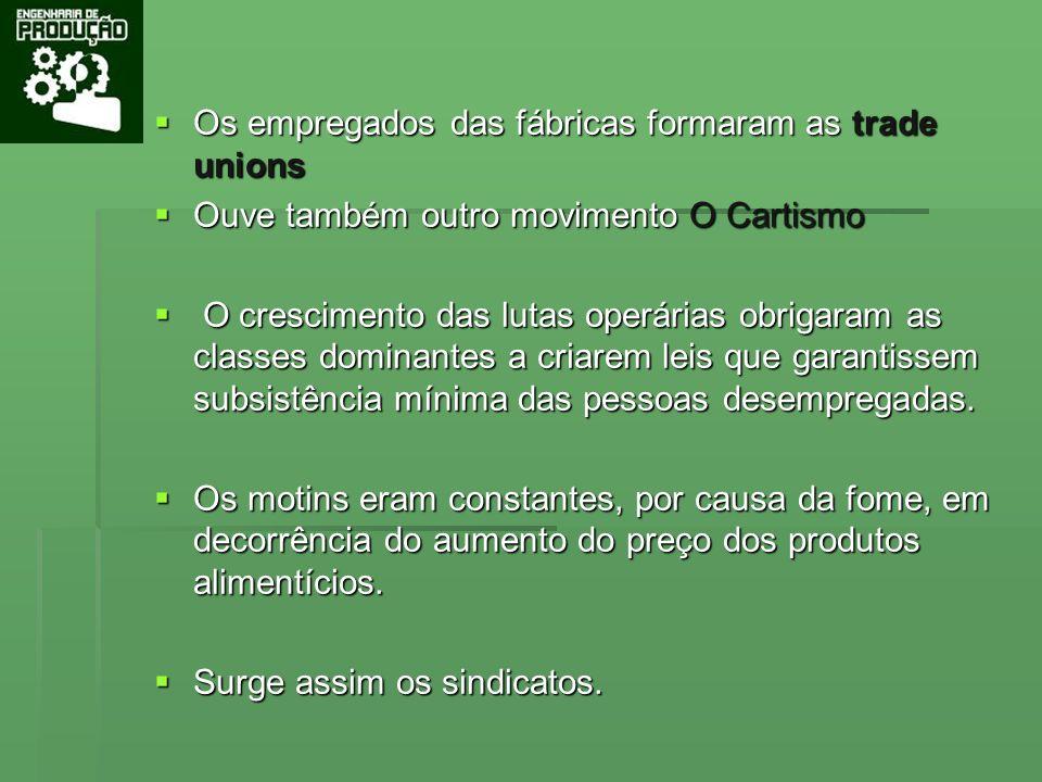 Os empregados das fábricas formaram as trade unions