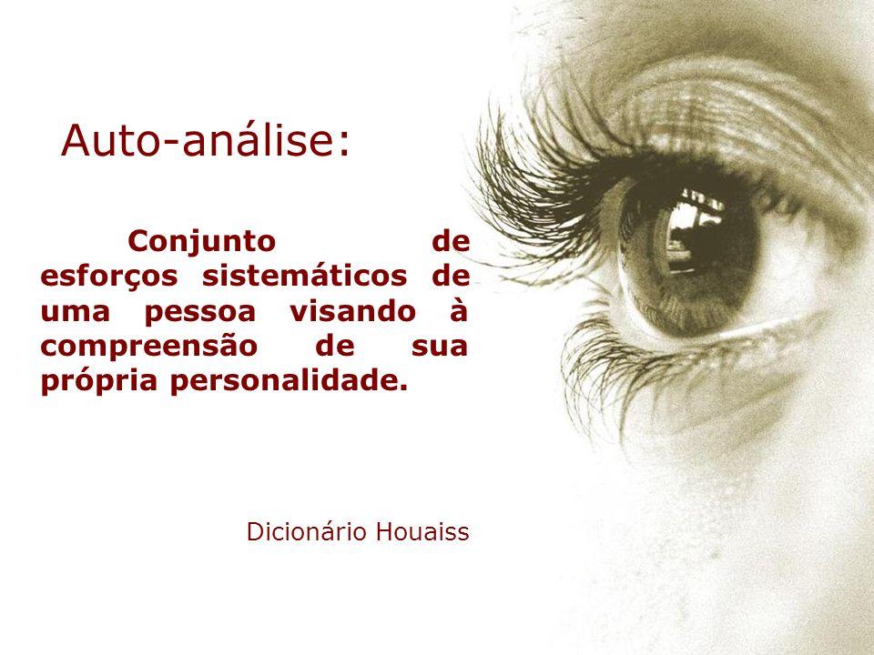 Auto-análise: Conjunto de esforços sistemáticos de uma pessoa visando à compreensão de sua própria personalidade.