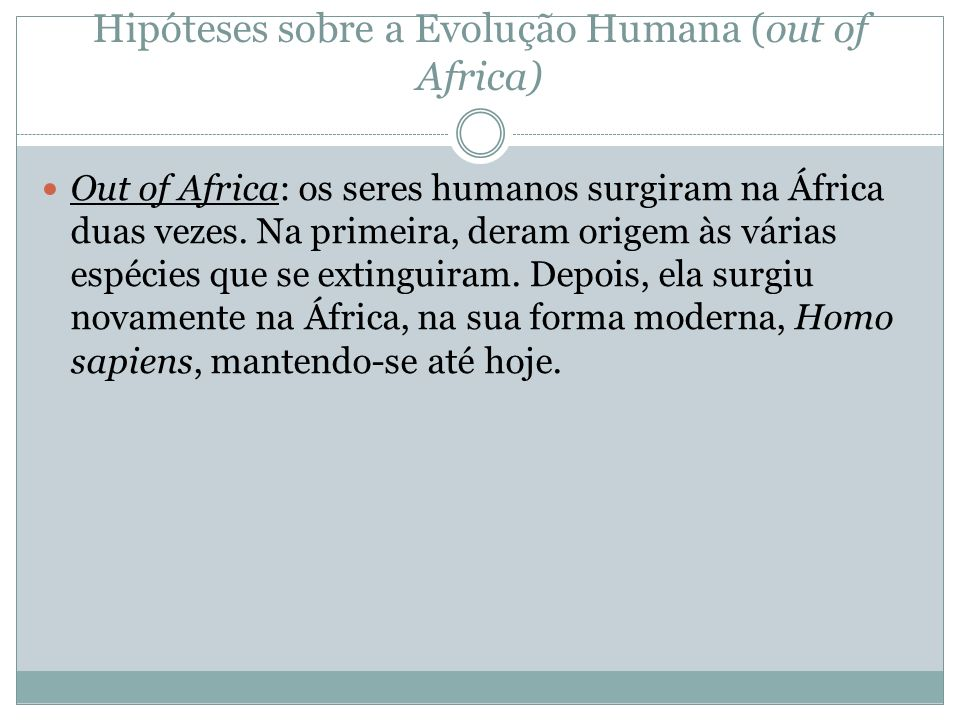 Hipóteses sobre a Evolução Humana (out of Africa)