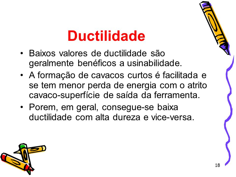 DuctilidadeBaixos valores de ductilidade são geralmente benéficos a usinabilidade.