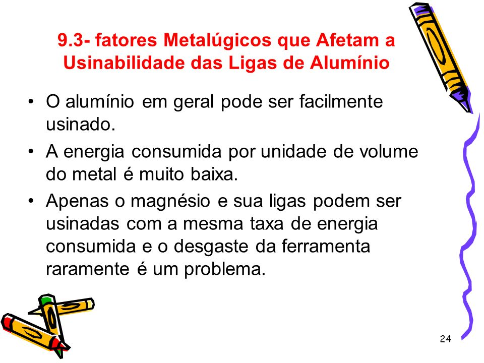 9.3- fatores Metalúgicos que Afetam a Usinabilidade das Ligas de Alumínio