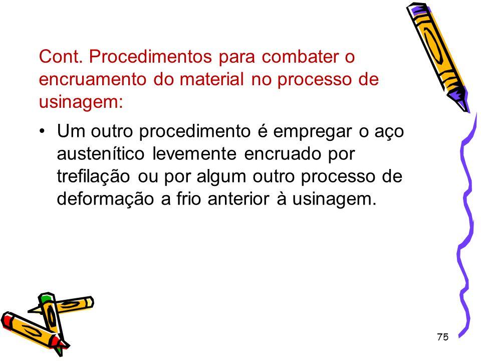 Cont. Procedimentos para combater o encruamento do material no processo de usinagem: