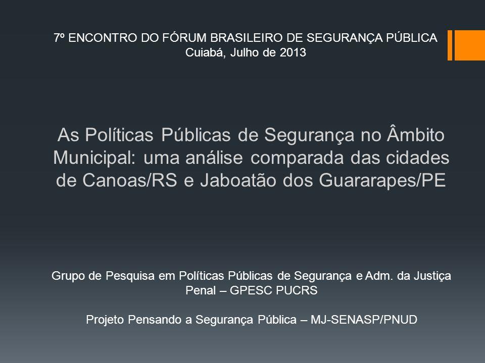 Projeto Pensando a Segurança Pública – MJ-SENASP/PNUD