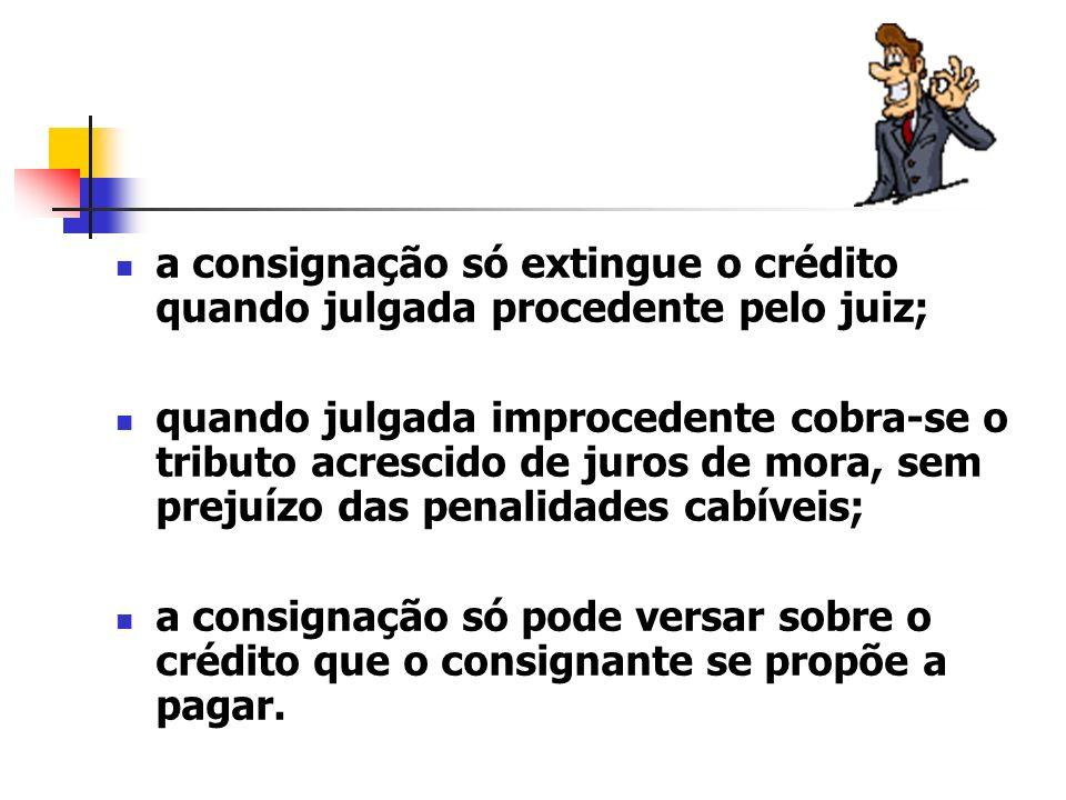 a consignação só extingue o crédito quando julgada procedente pelo juiz;