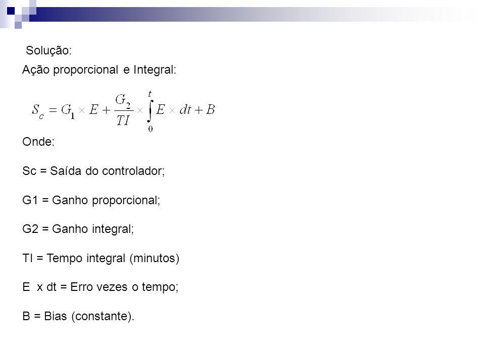 Solução: Ação proporcional e Integral: Onde: Sc = Saída do controlador; G1 = Ganho proporcional;