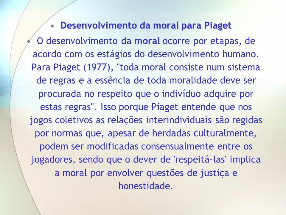 Desenvolvimento da moral para Piaget