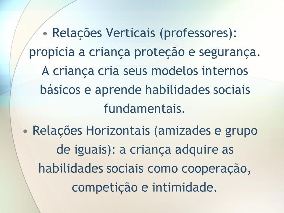 Relações Verticais (professores): propicia a criança proteção e segurança. A criança cria seus modelos internos básicos e aprende habilidades sociais fundamentais.