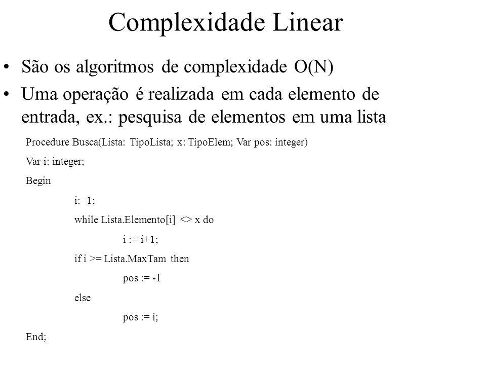 Complexidade Linear São os algoritmos de complexidade O(N)