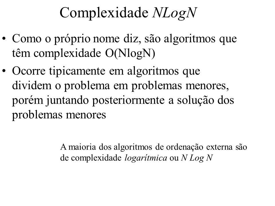 Complexidade NLogN Como o próprio nome diz, são algoritmos que têm complexidade O(NlogN)