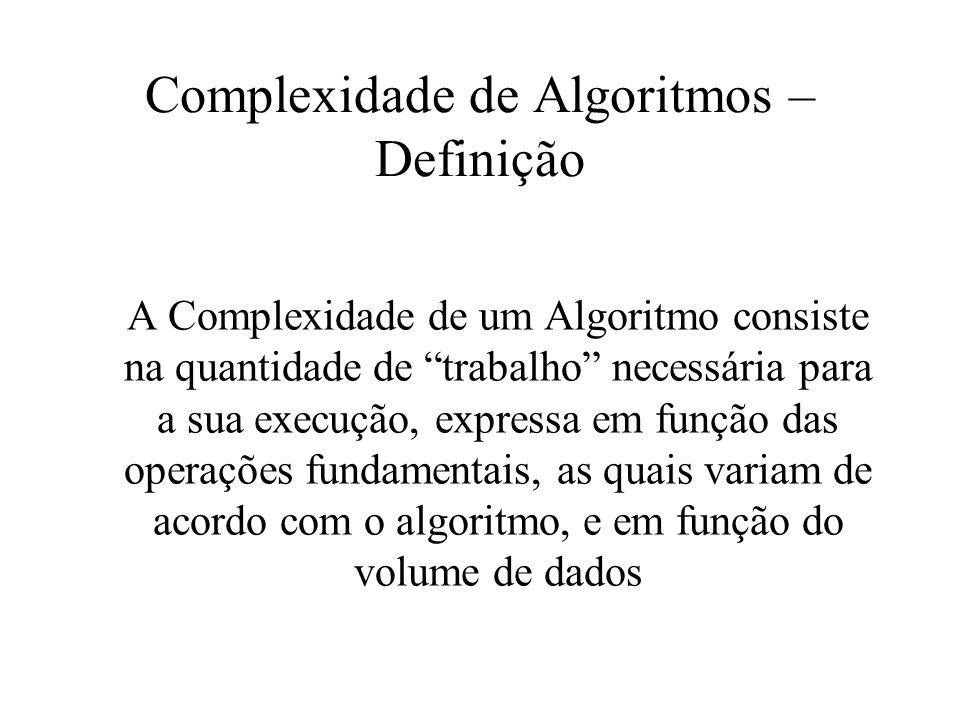 Complexidade de Algoritmos – Definição