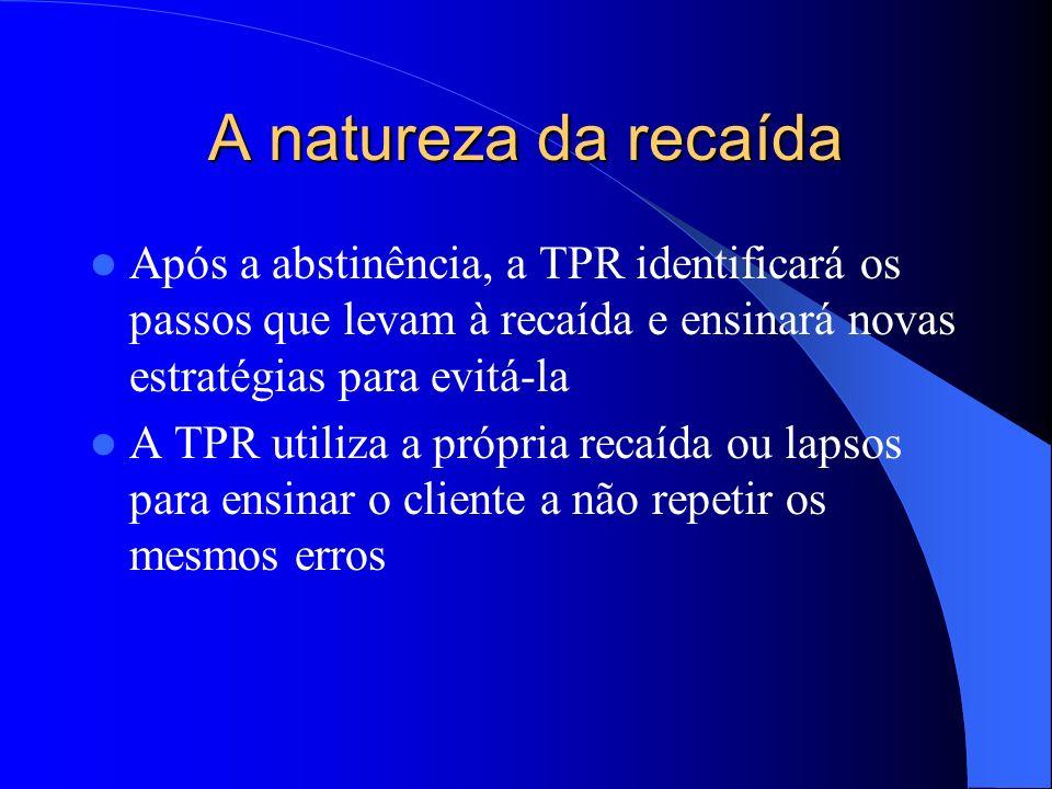 A natureza da recaída Após a abstinência, a TPR identificará os passos que levam à recaída e ensinará novas estratégias para evitá-la.