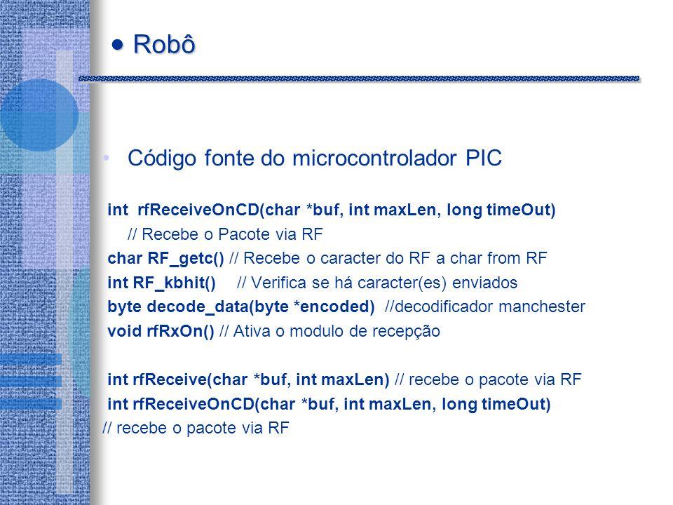 Robô Código fonte do microcontrolador PIC