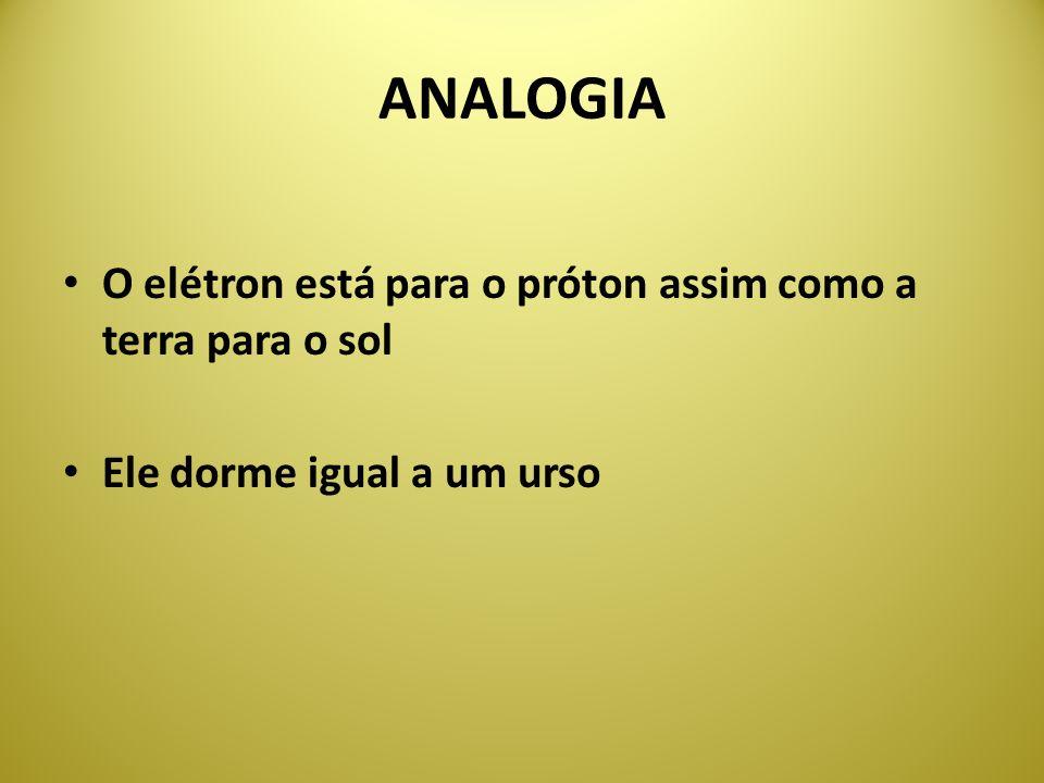 ANALOGIA O elétron está para o próton assim como a terra para o sol