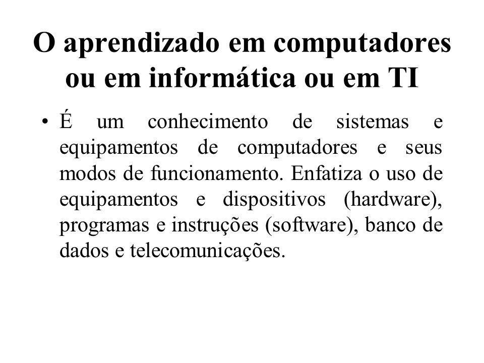 O aprendizado em computadores ou em informática ou em TI