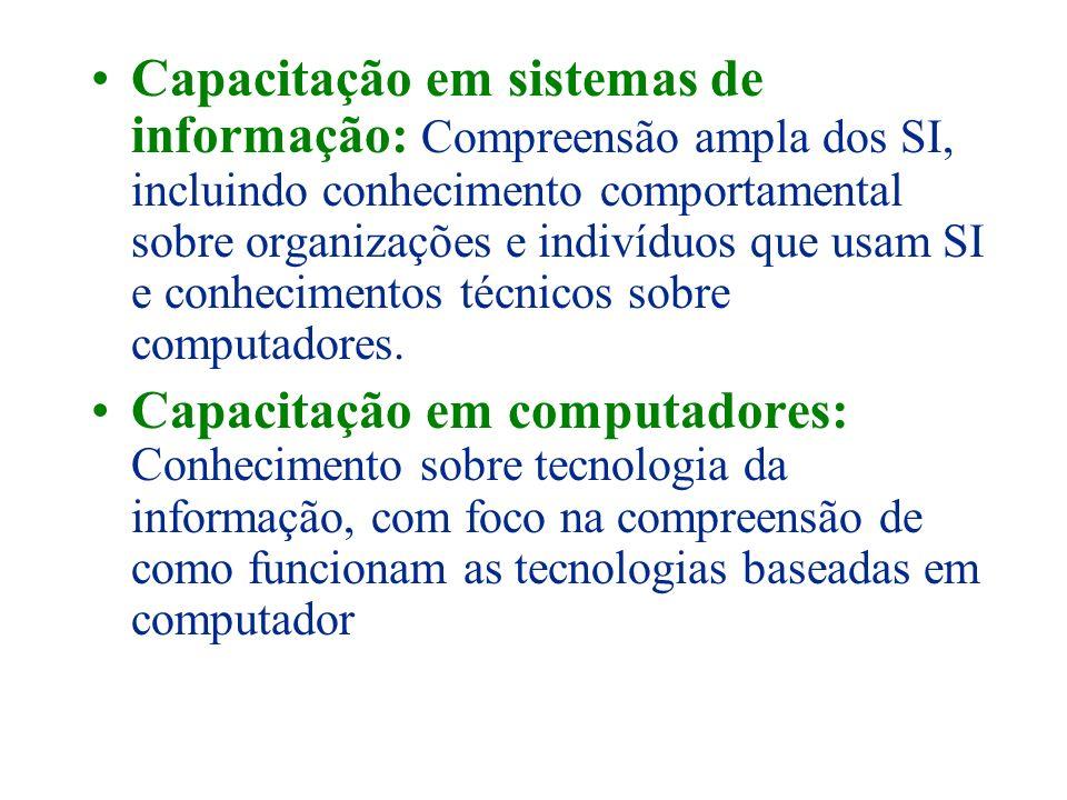Capacitação em sistemas de informação: Compreensão ampla dos SI, incluindo conhecimento comportamental sobre organizações e indivíduos que usam SI e conhecimentos técnicos sobre computadores.