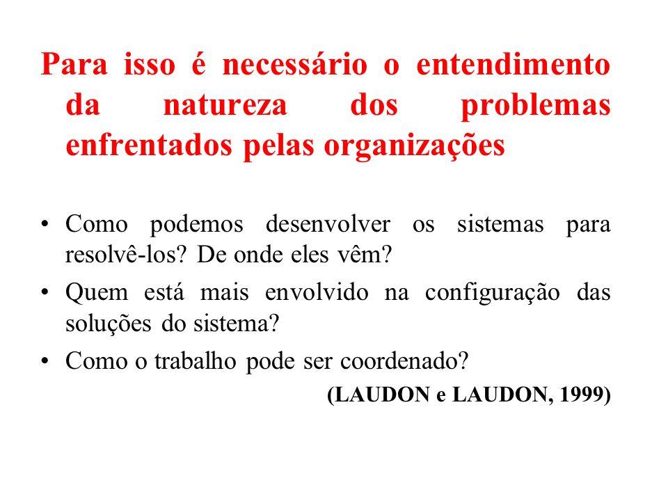 Para isso é necessário o entendimento da natureza dos problemas enfrentados pelas organizações
