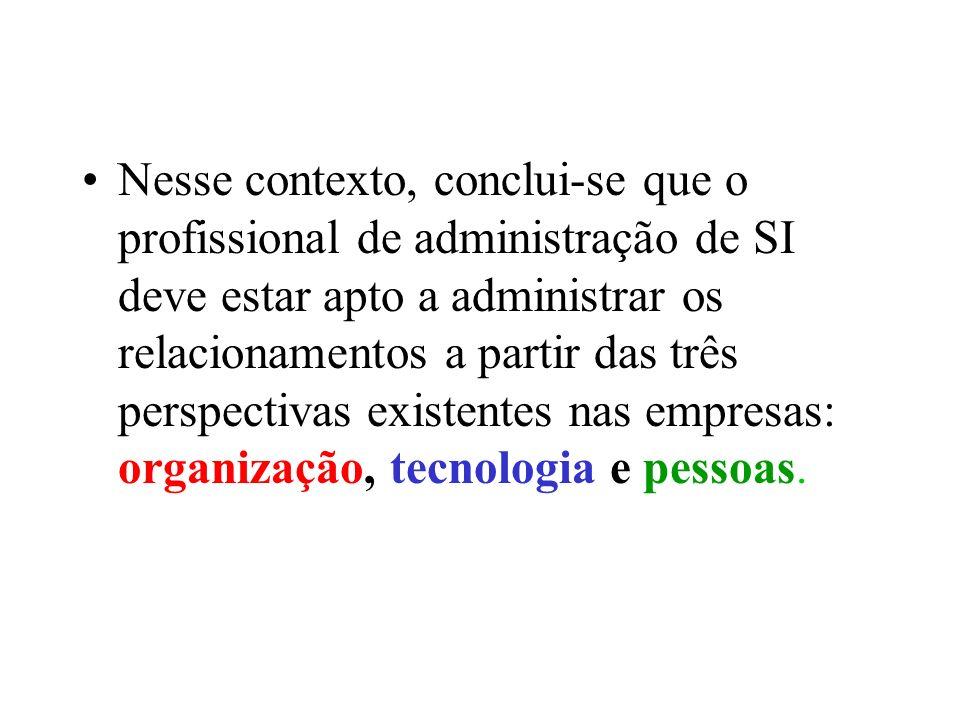 Nesse contexto, conclui-se que o profissional de administração de SI deve estar apto a administrar os relacionamentos a partir das três perspectivas existentes nas empresas: organização, tecnologia e pessoas.