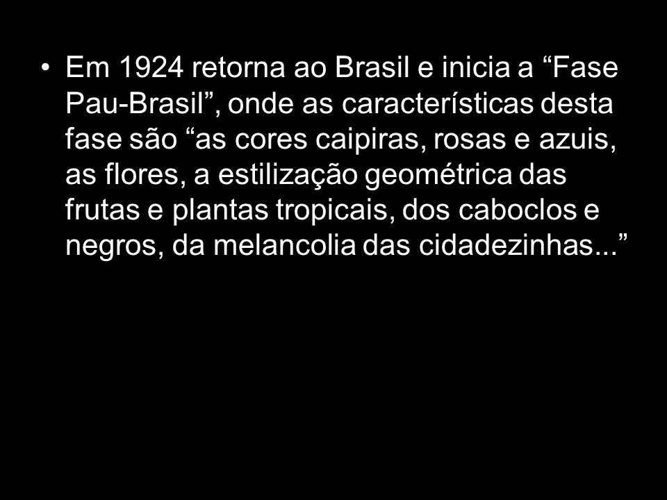 Em 1924 retorna ao Brasil e inicia a Fase Pau-Brasil , onde as características desta fase são as cores caipiras, rosas e azuis, as flores, a estilização geométrica das frutas e plantas tropicais, dos caboclos e negros, da melancolia das cidadezinhas...