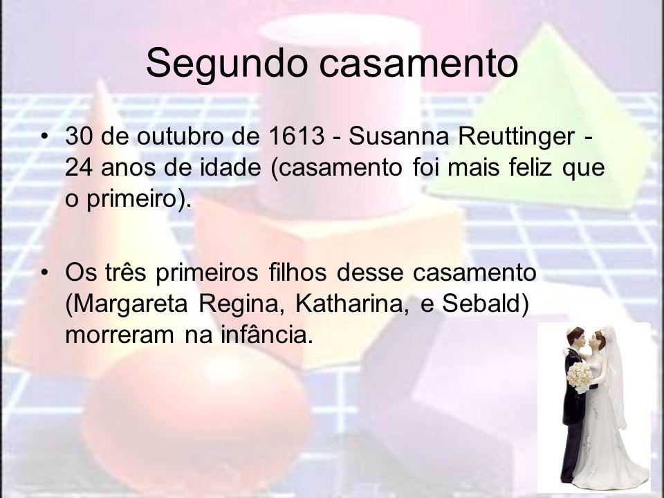 Segundo casamento30 de outubro de 1613 - Susanna Reuttinger - 24 anos de idade (casamento foi mais feliz que o primeiro).