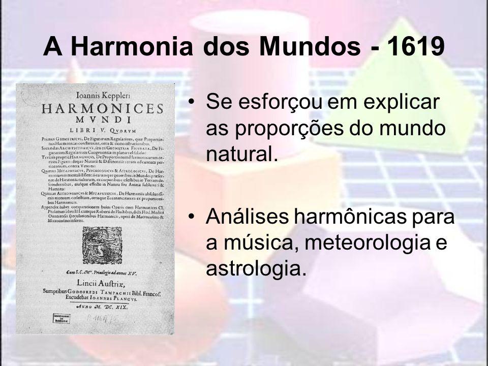 A Harmonia dos Mundos - 1619 Se esforçou em explicar as proporções do mundo natural. Análises harmônicas para a música, meteorologia e astrologia.