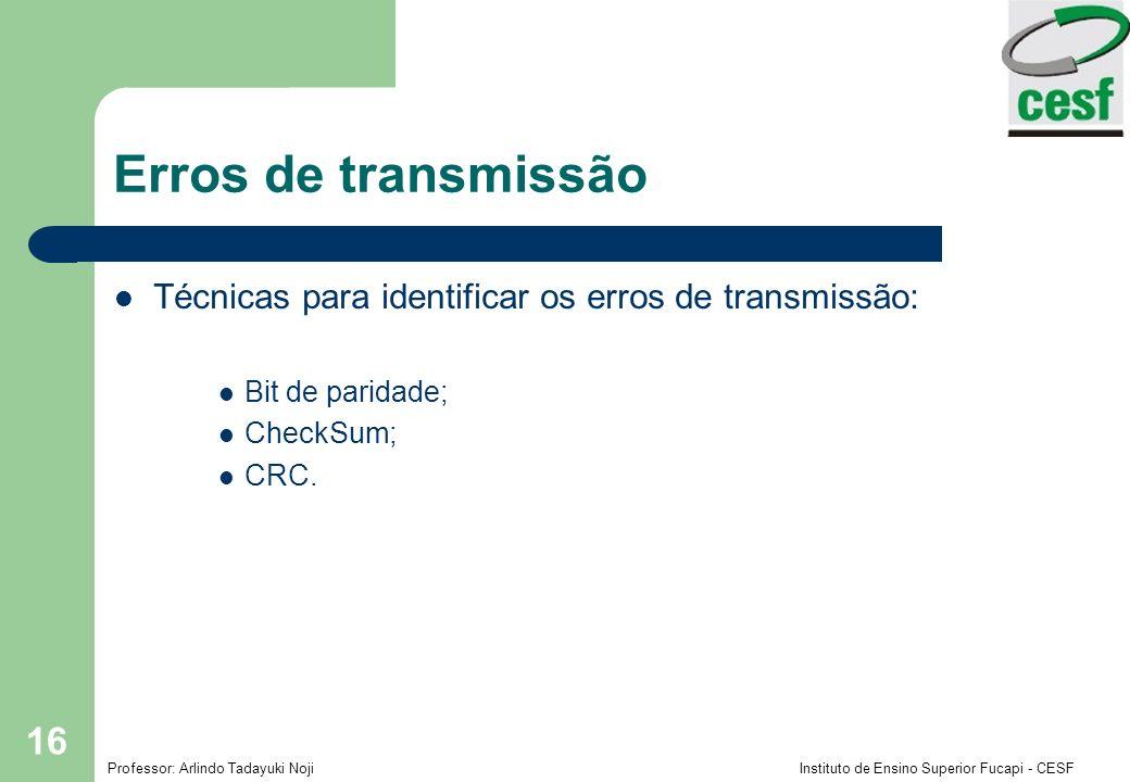 Erros de transmissão Técnicas para identificar os erros de transmissão: Bit de paridade; CheckSum;