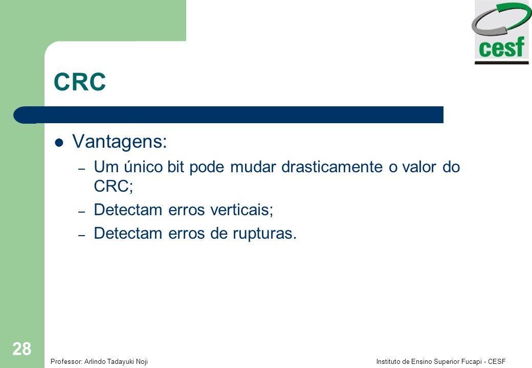 CRC Vantagens: Um único bit pode mudar drasticamente o valor do CRC;