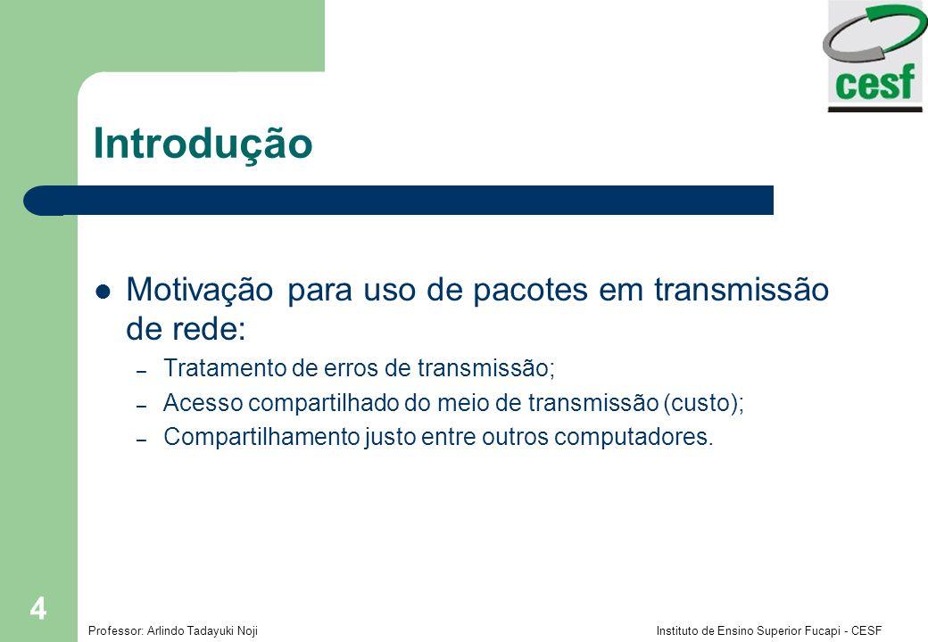 Introdução Motivação para uso de pacotes em transmissão de rede: