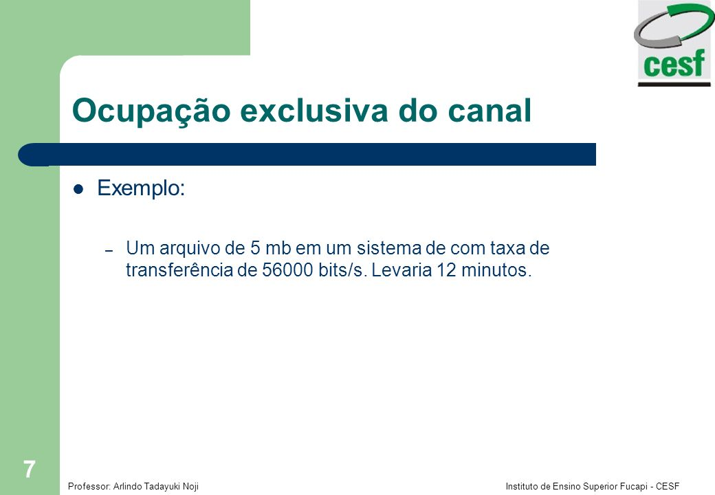Ocupação exclusiva do canal
