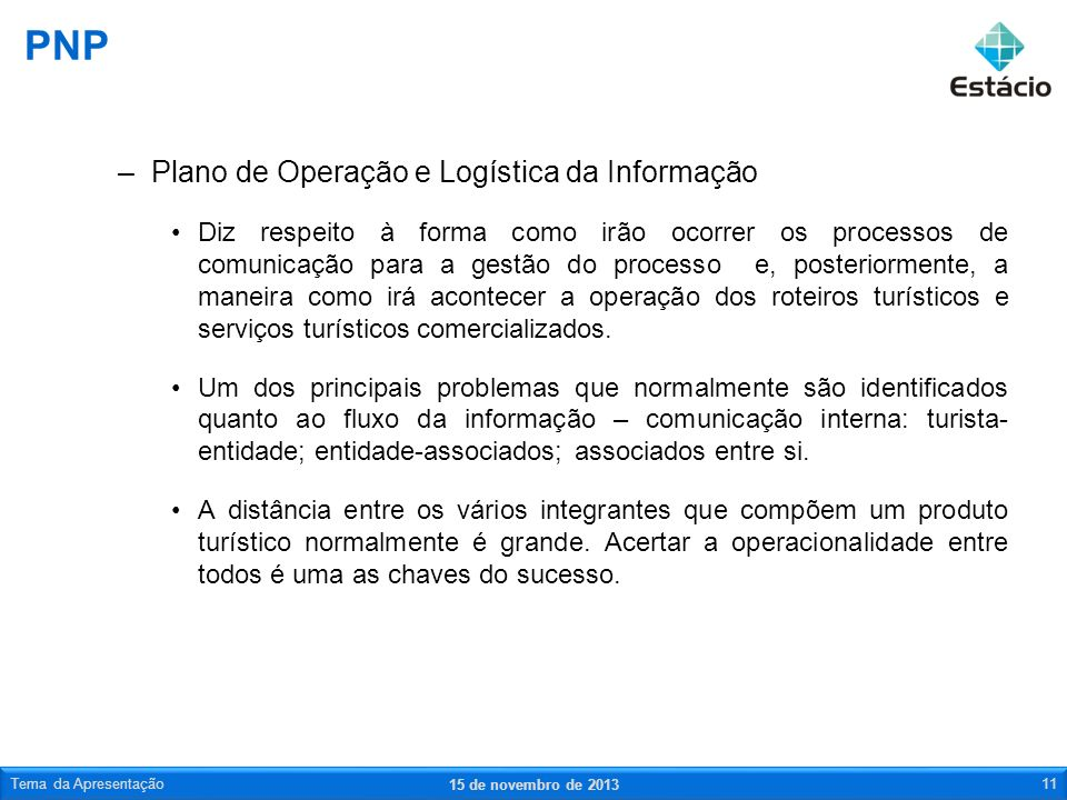 PNP Plano de Operação e Logística da Informação